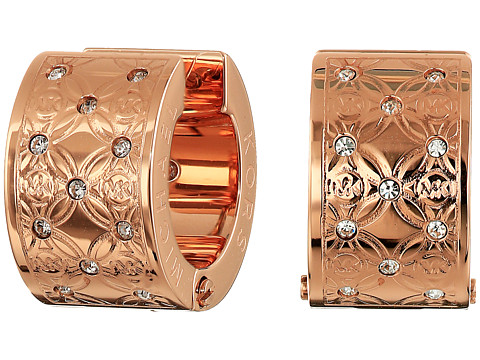 Michael Kors - Etched Monogram Huggie Earrings (Rose Gold) Earring