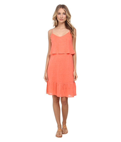 C&C California - Ruffle Sundress (Living Coral) Women