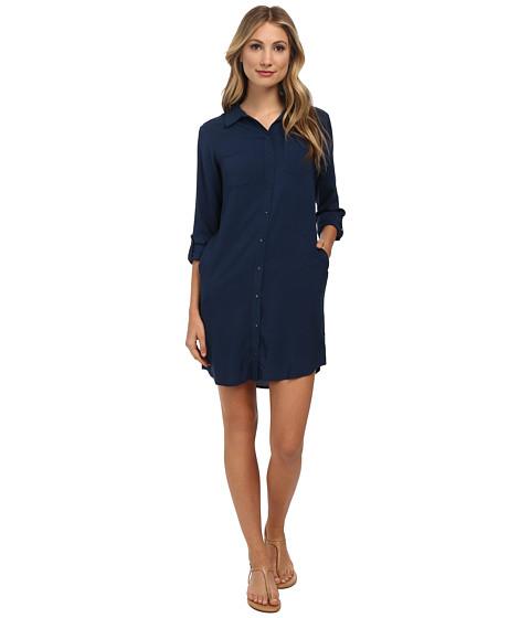 C&C California - Solid Rayon Shirtdress (Navy) Women's Dress