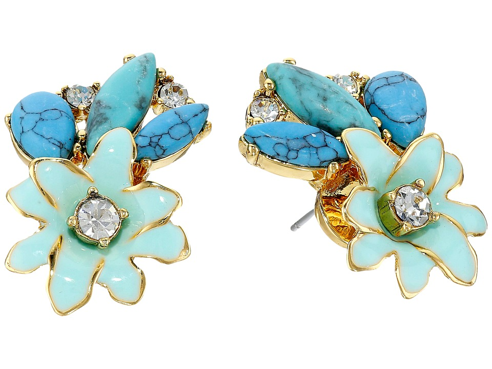 Kate Spade New York - Glossy Petals Cluster Studs Earrings (Turquoise Multi) Earring