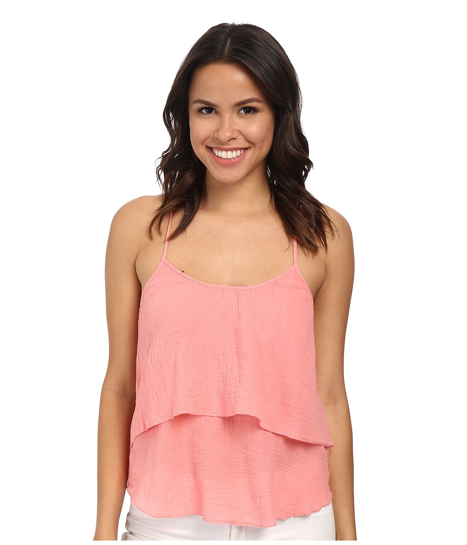 C&C California - Gauze Ruffle Cami (Salmon Rose) Women's Sleeveless