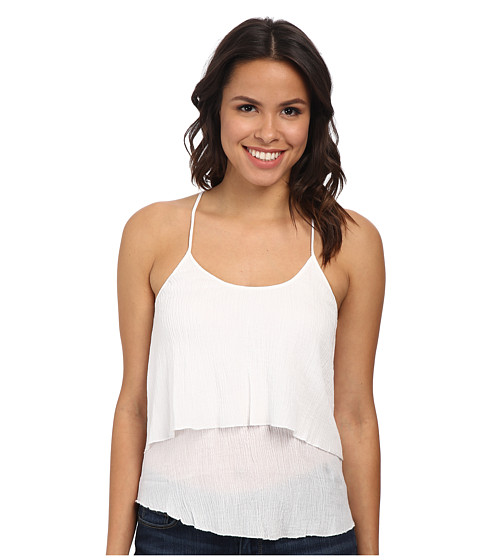 C&C California - Gauze Ruffle Cami (White) Women's Sleeveless
