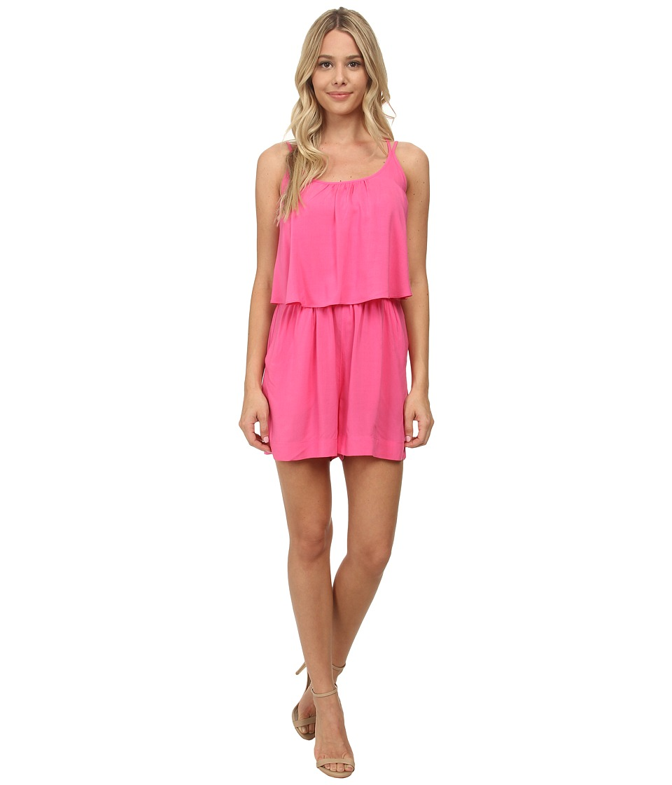 C&C California - Strappy Ruffle Solid Romper (Shocking Pink) Women's Jumpsuit & Rompers One Piece
