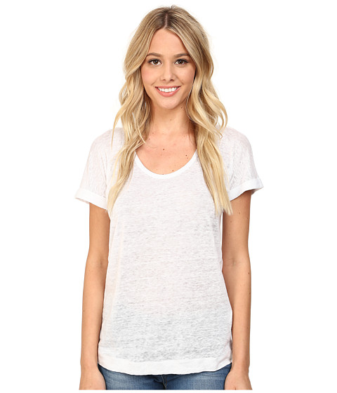 C&C California - Linen Jersey Roll Sleeve Tee (White) Women's T Shirt
