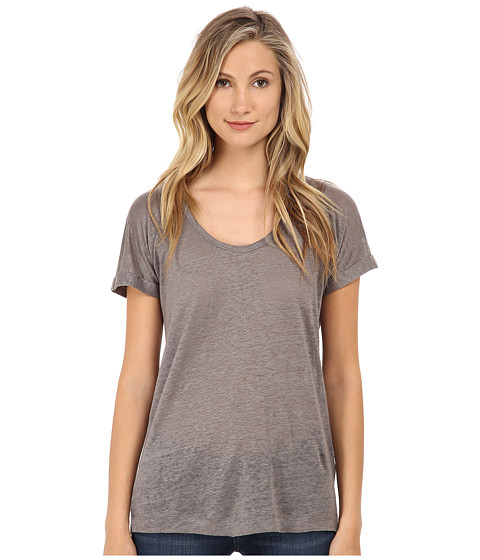 C&C California - Linen Jersey Roll Sleeve Tee (Light Faded Black) Women's T Shirt