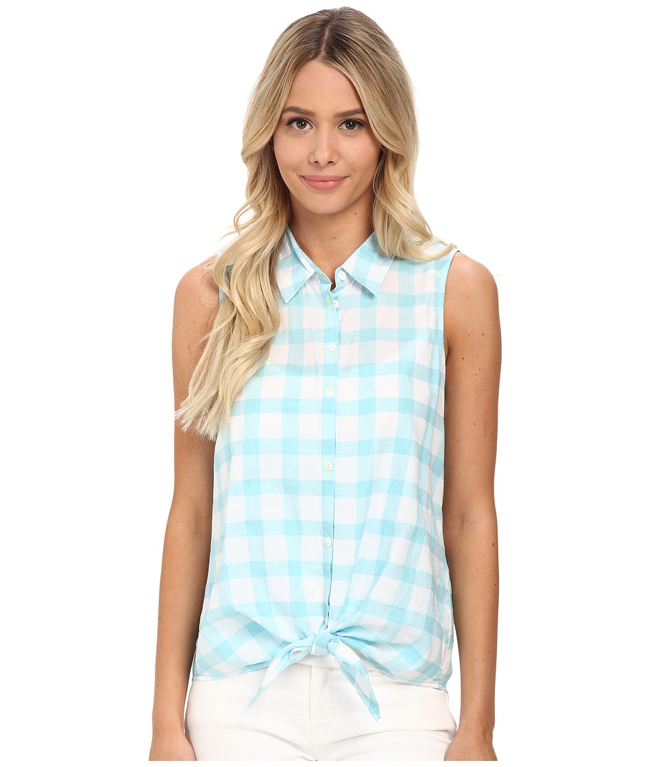 C&C California - Windowpane Tie Front Shirt (Maui Blue) Women's Clothing