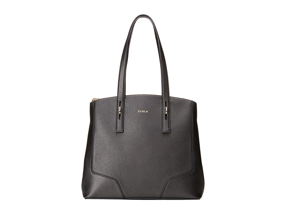 Furla - Perla Medium Tote w/ Zip (Onyx) Tote Handbags