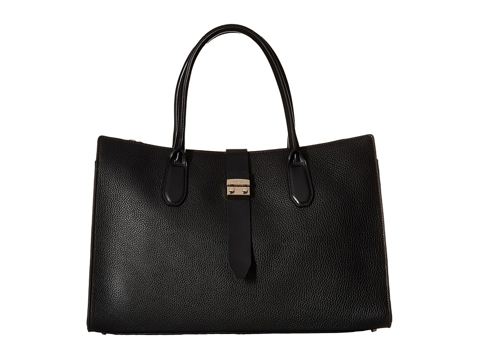 Furla - Flair Large Tote w/ Turnlock (Onyx) Tote Handbags
