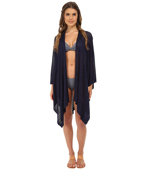 Echo Design - Pointelle Ruana Cover-Up (Navy) Women's Swimwear