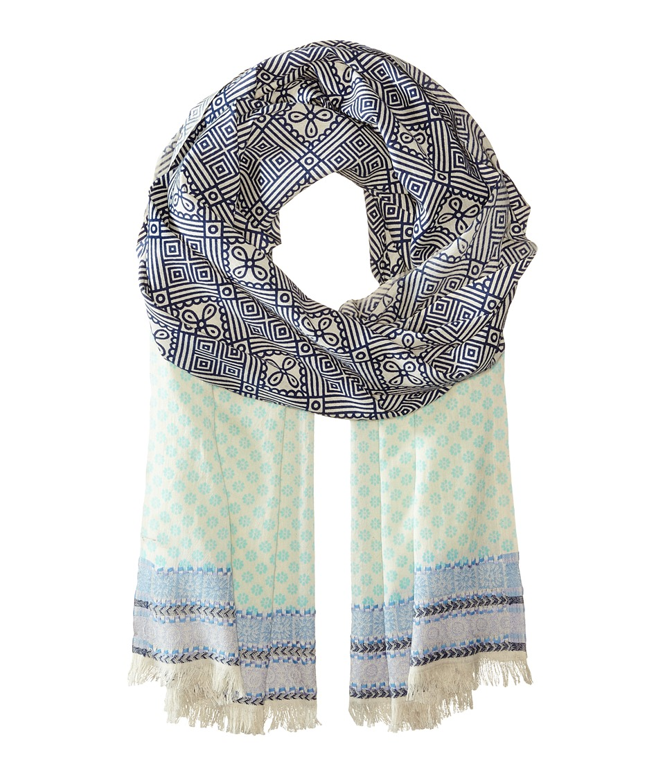 Echo Design - Embroidered Tile Wrap (Indigo) Scarves