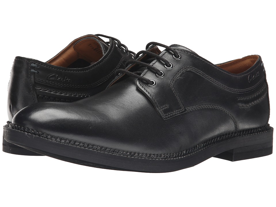 Clarks - Bushwick Dale (Black Leather) Men's Plain Toe Shoes