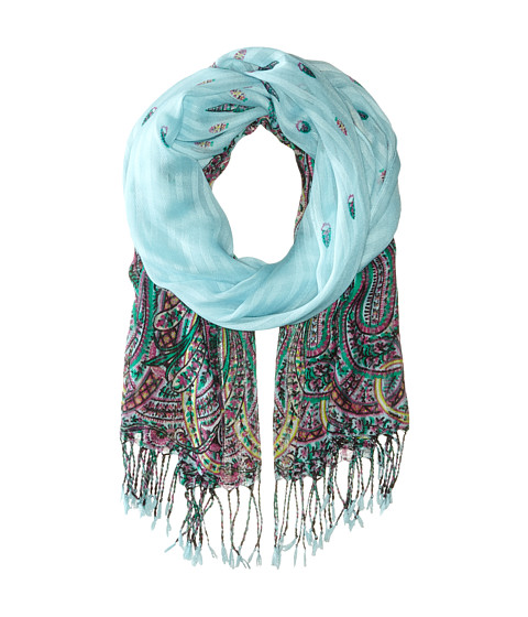 Echo Design - Oversized Festival Paisley Scarf (Pale Turquoise) Scarves