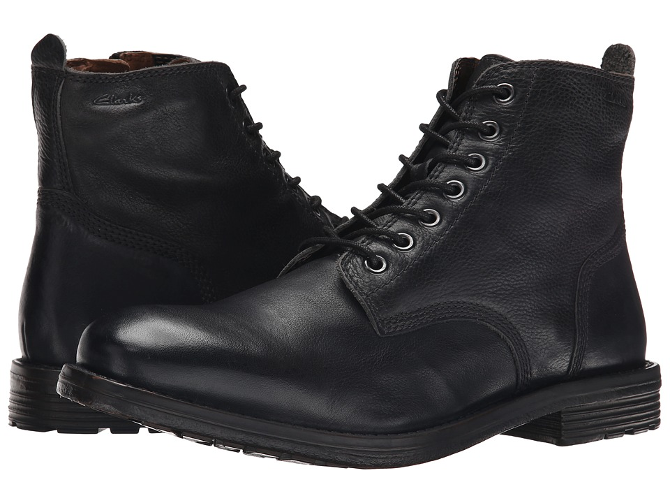 Clarks - Faulkner Rise (Black Leather) Men's Lace-up Boots