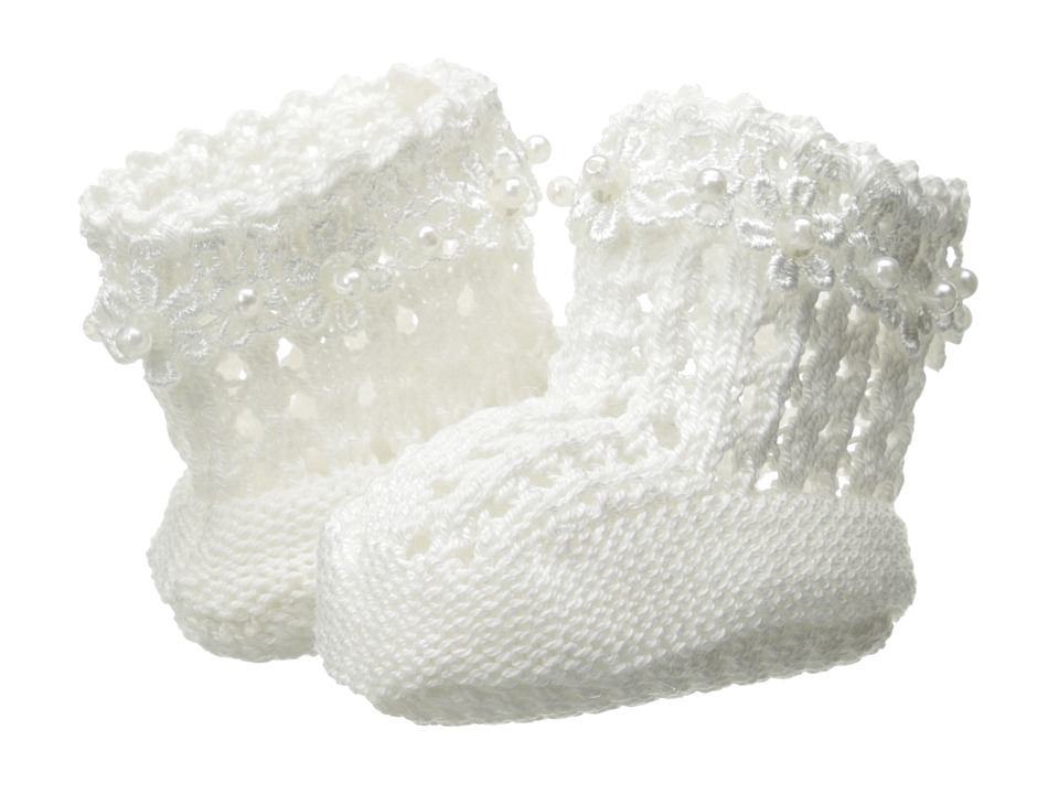 Jefferies Socks - Daisy Pearl Bootie (Infant) (White) Girls Shoes