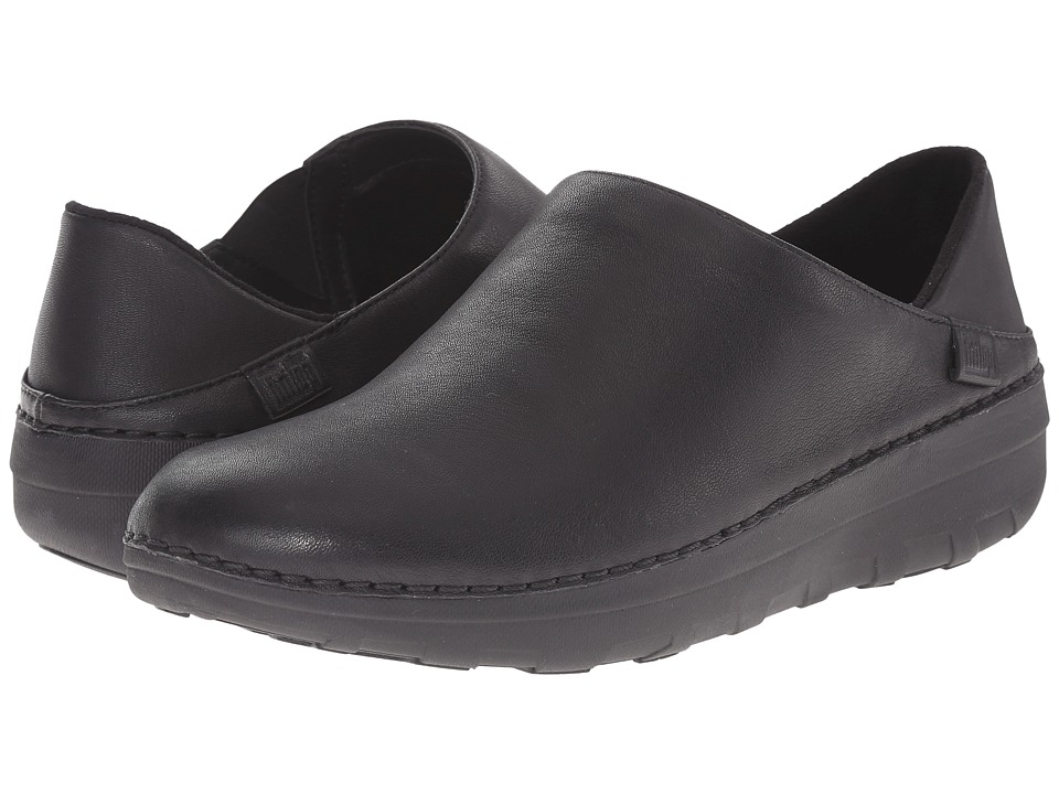 FitFlop - Superloafer Leather (All Black) Women's Clog Shoes