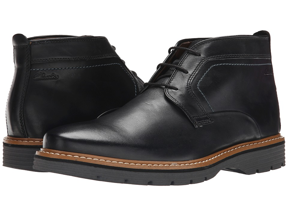 Clarks Newkirk Top (Black Leather) Men