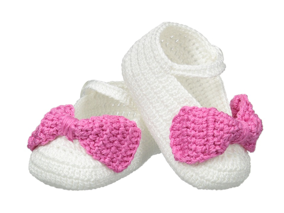 Jefferies Socks - Bow Bootie (Infant) (White/Bubblegum) Girls Shoes