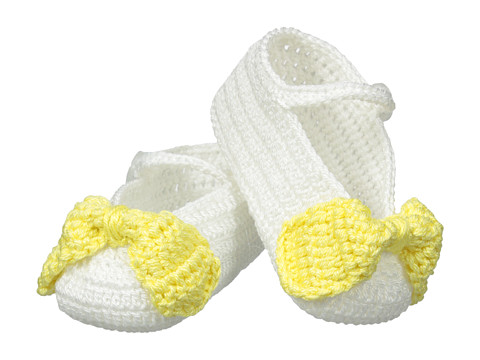 Jefferies Socks - Bow Bootie (Infant) (White/Yellow) Girls Shoes