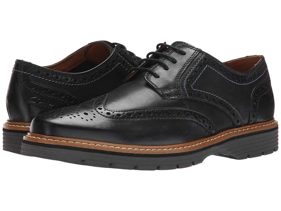 Clarks - Newkirk Wing (Black Leather) Men's Lace Up Wing Tip Shoes