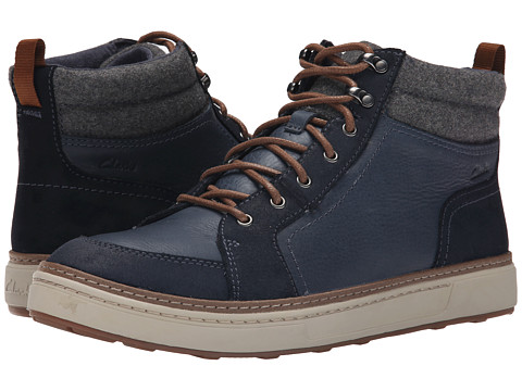 Clarks - Lorsen Top (Navy Warm Lined Leather) Men's Lace-up Boots
