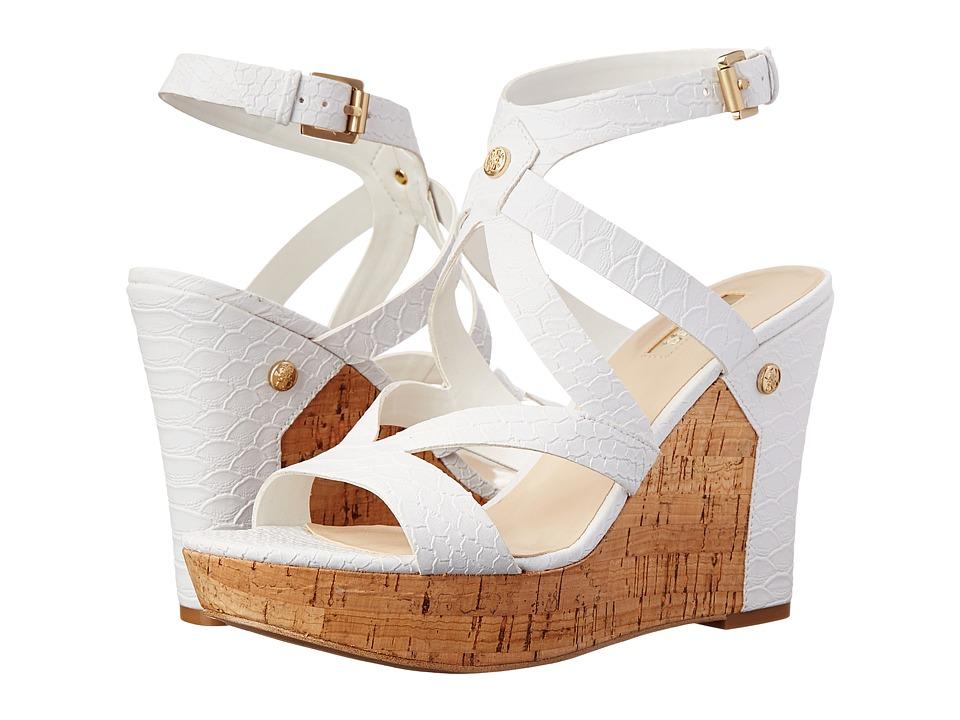 GUESS - Harlee (White Synthetic Nappa) Women's Wedge Shoes
