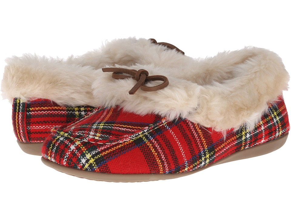 VIONIC - Cozy Juniper Moccasin (Red Plaid) Women's Slip on Shoes