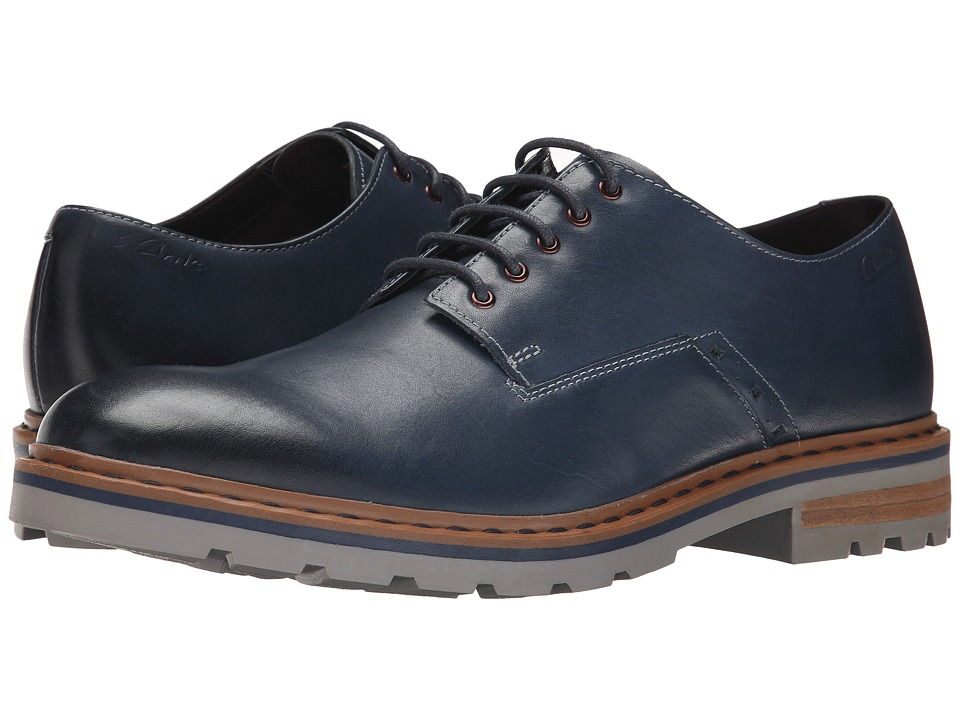 Clarks - Dargo Walk (Dark Blue Leather) Men's Plain Toe Shoes