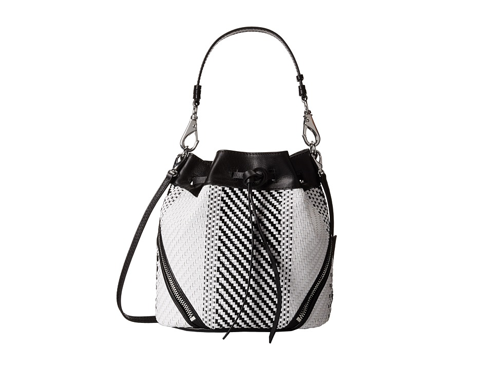 She + Lo - Make Your Mark Weave Drawstring (Black White) Drawstring Handbags