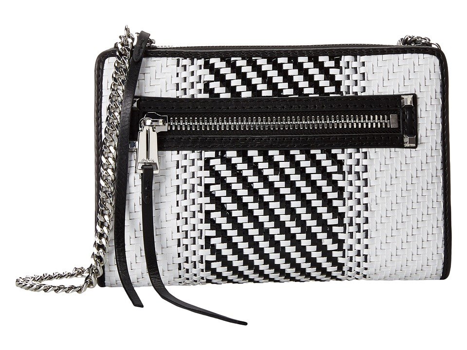 She + Lo - Make Your Mark Weave Mini Crossbody (Black/White) Cross Body Handbags