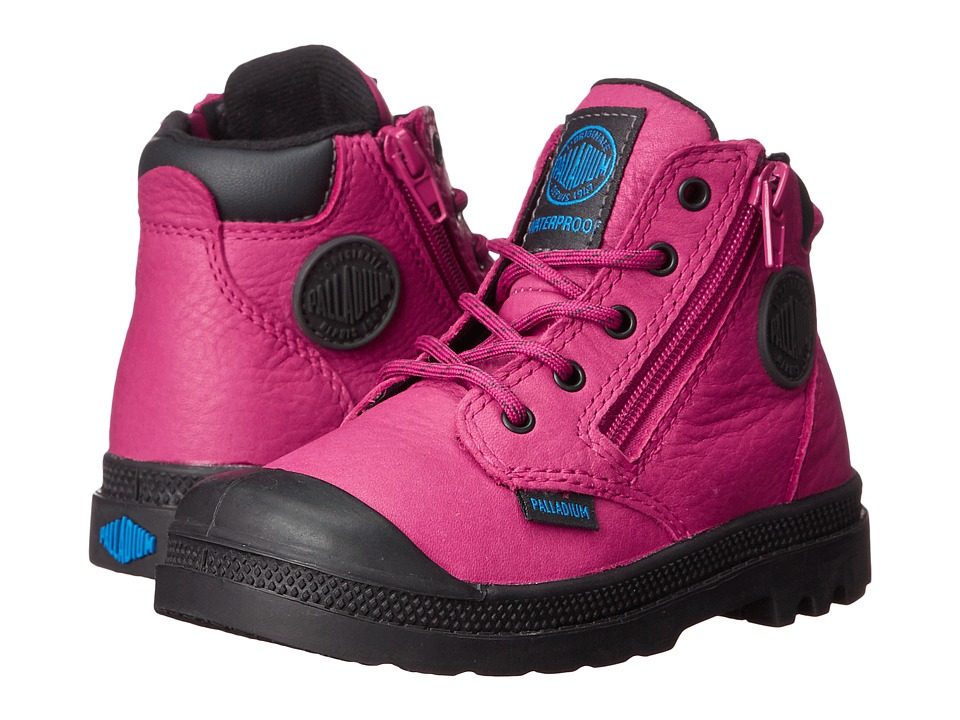Palladium Kids - Pampa Hi Cuff Waterproof (Toddler) (Vivacious/Anthracite) Girl's Shoes