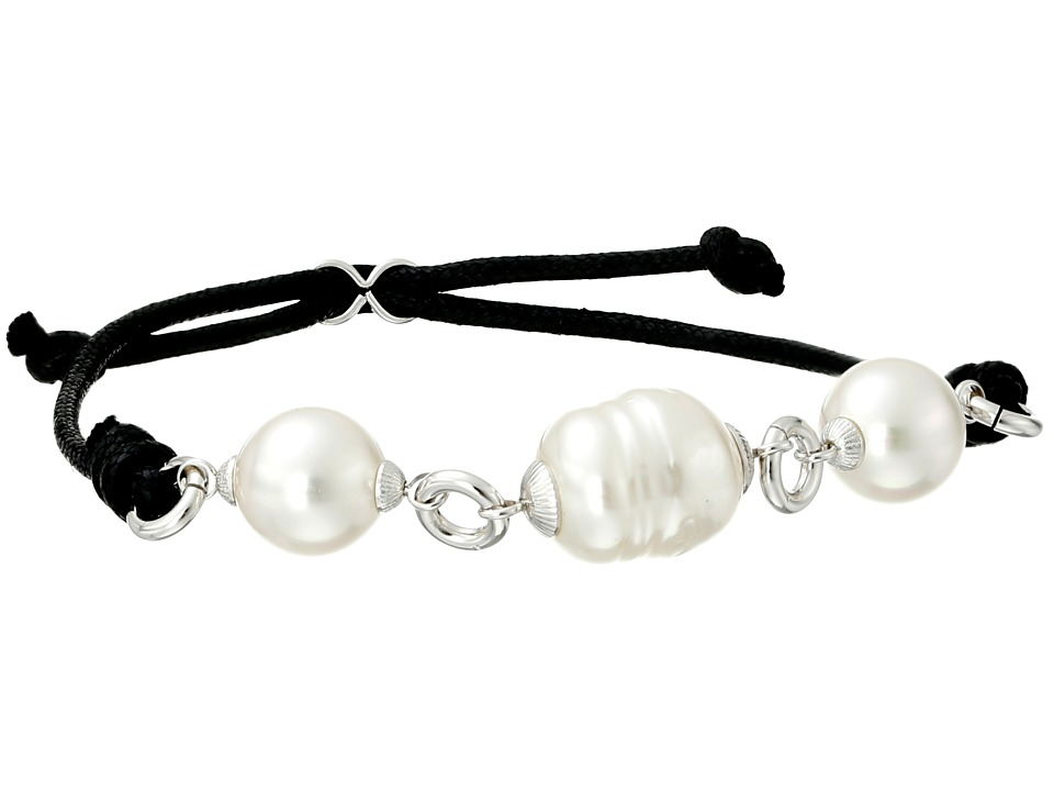 Majorica - Pearl and Leather Bracelet (Silver/White) Bracelet