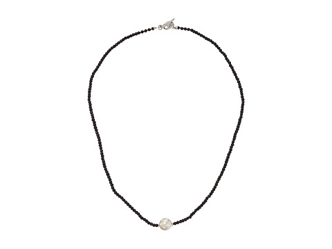 Majorica - Single Pearl and Crystal Necklace (Black/White) Necklace