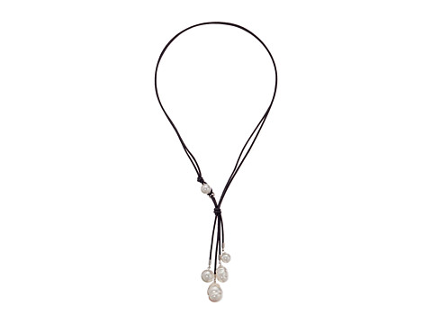 Majorica - Pearl and Leather Lariat Necklace (Silver/White) Necklace