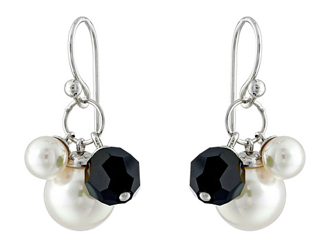 Majorica - Pearl and Crystal Drop Earrings (Silver/White) Earring