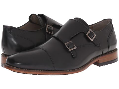 Clarks - Penton Monk (Black Leather) Men's Slip-on Dress Shoes