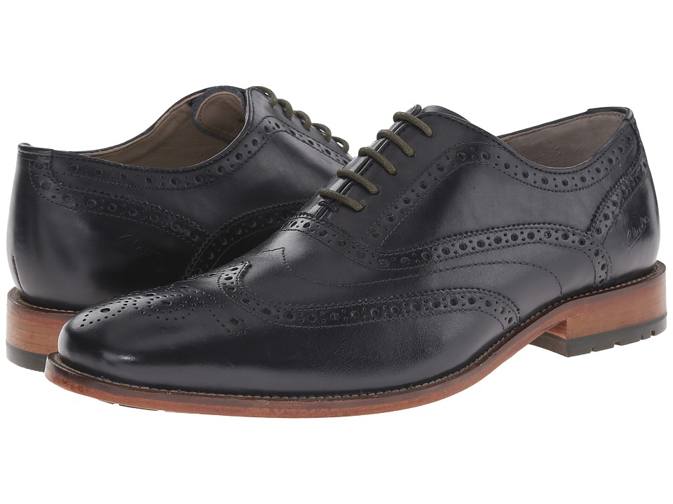 Clarks - Penton Limit (Dark Blue Leather) Men's Lace Up Wing Tip Shoes
