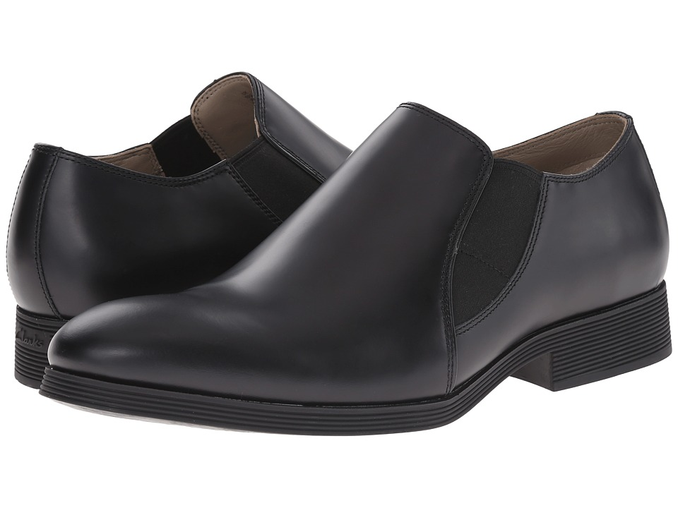 Clarks - Gabwell Step (Black Leather) Men's Plain Toe Shoes