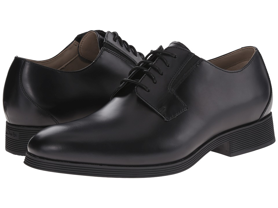 Clarks - Gabwell Walk (Black Leather) Men's Plain Toe Shoes