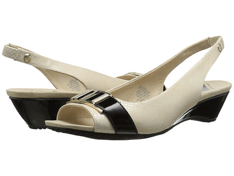 Anne Klein - Hooked (Ivory/Black Fabric) Women's Dress Sandals