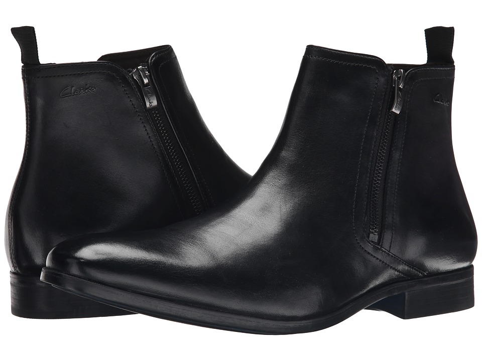 Clarks - Banfield Zip (Black Leather) Men's Zip Boots