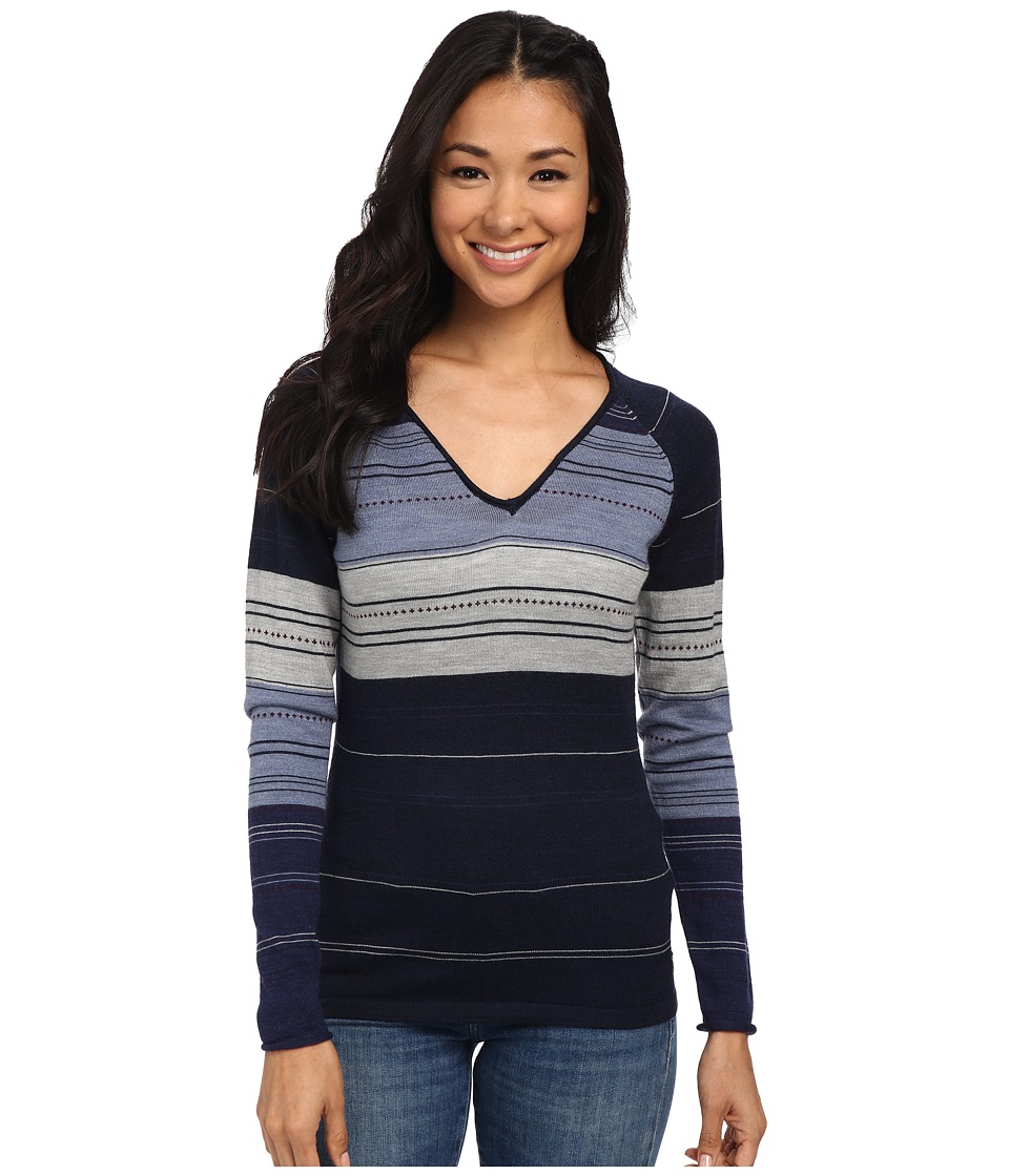 Smartwool Sulawesi Stripe Pullover (Deep Navy Heather) Women