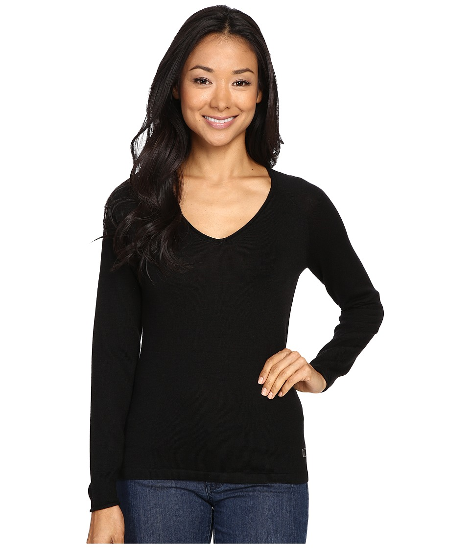 Smartwool - Granite Falls V-Neck Top (Black) Women's Long Sleeve Pullover
