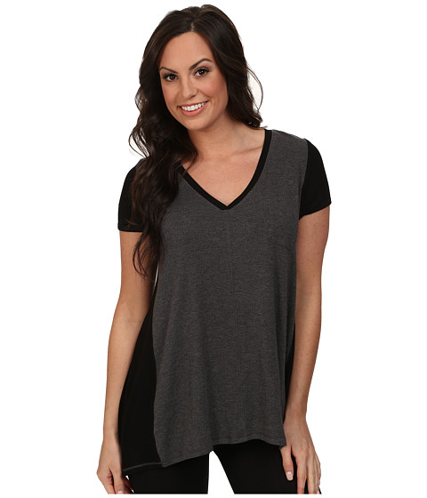 DKNY - Urban Essentials Short Sleeve Top (Heather Charcoal) Women