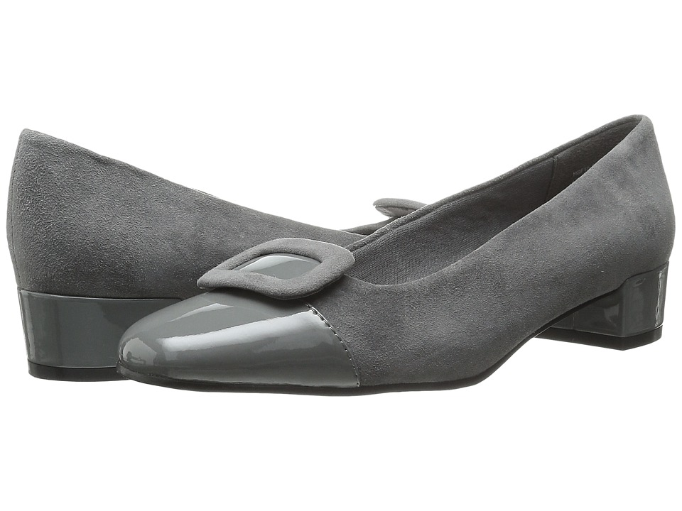 David Tate - Retro (Gray Kid Suede/Patent) Women's 1-2 inch heel Shoes