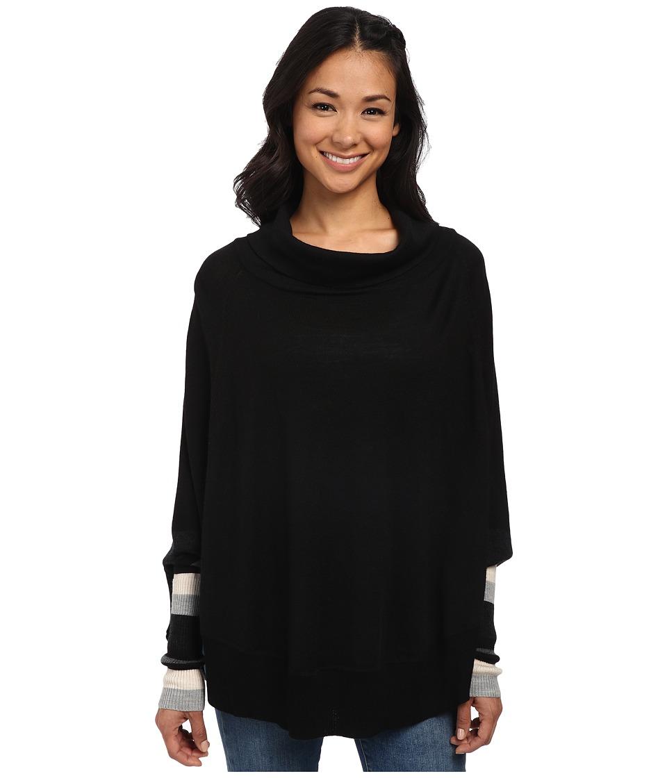 Smartwool - Nokoni Striped Poncho (Black) Women's Sweater