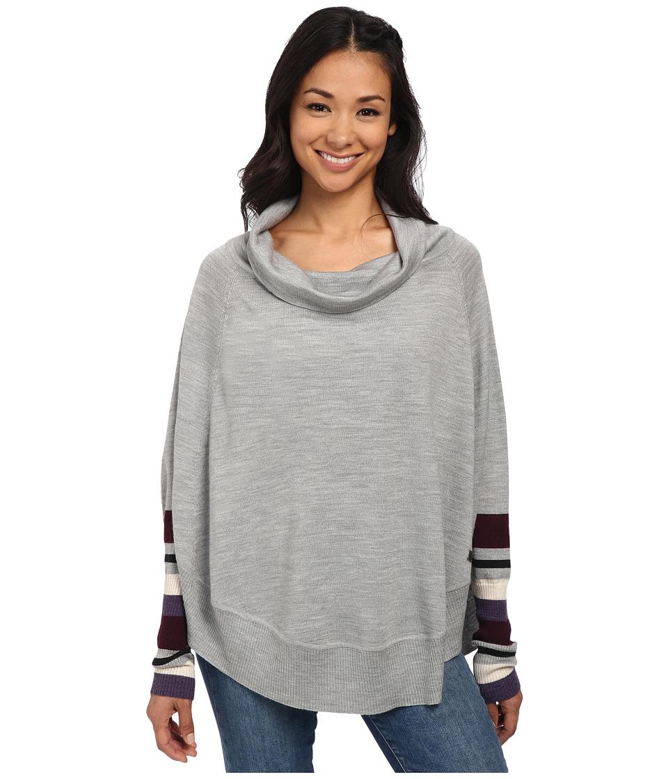 Smartwool - Nokoni Striped Poncho (Silver Gray Heather) Women's Sweater