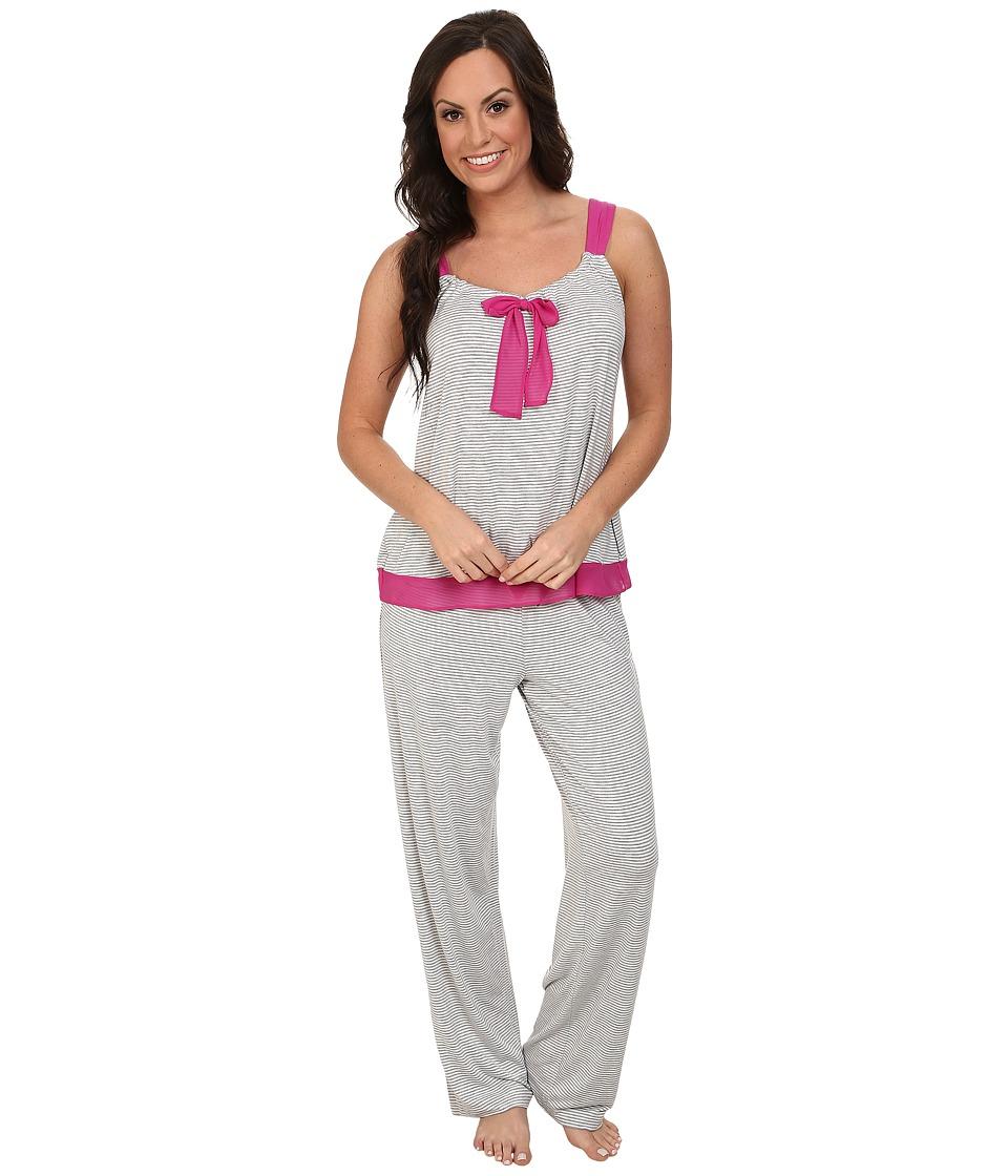 DKNY - City Socialite PJ (Grey Stripe) Women's Pajama Sets