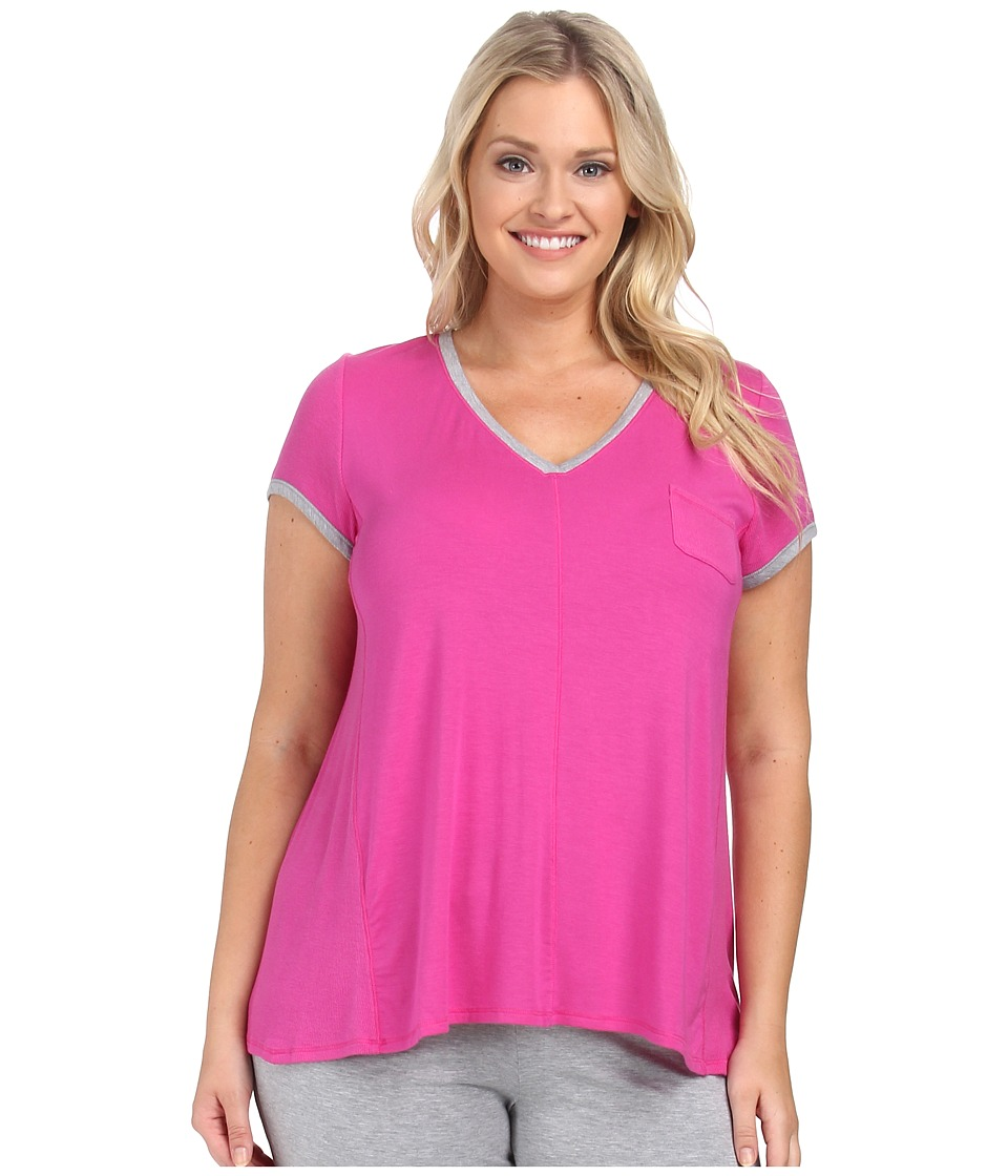 DKNY - Plus Size Urban Essentials Glamour Short Sleeve Top (Fuchsia) Women's Pajama