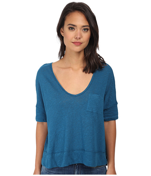 Free People - Triblend Jersey Crescent Moon Tee (Peacock) Women's Short Sleeve Pullover