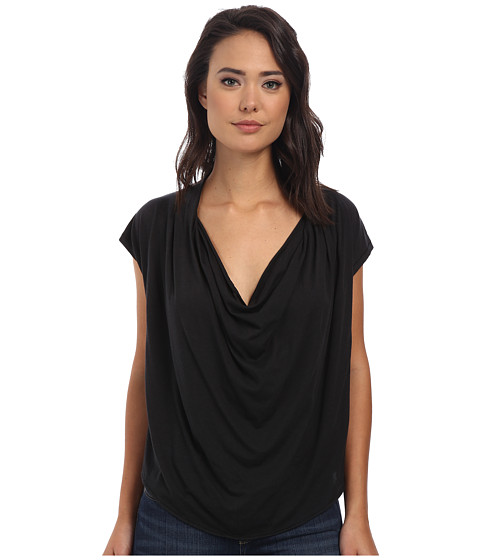 Free People - Fantasy Jersey Cowl Tee (Black) Women